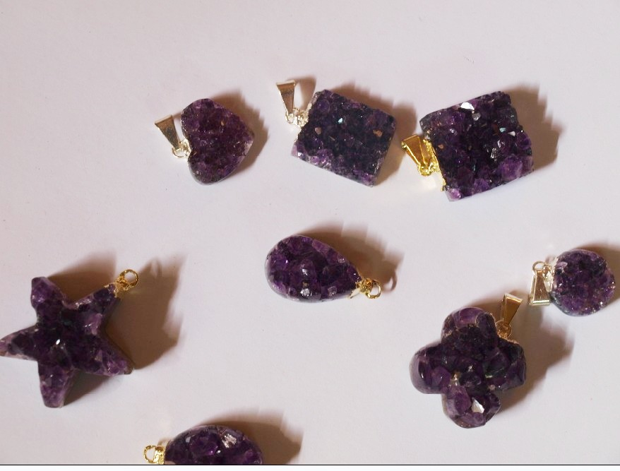 Stones from Uruguay - Amethyst Druzy Pendants with Gold Plated (dark purple)