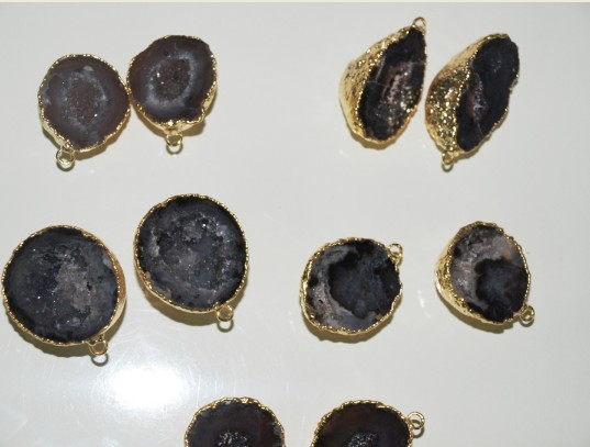 Stones from Uruguay - Agate Geode Druzy Pairs with Gold Plating