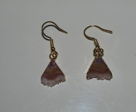 Stones from Uruguay - Amethyst Triangle Slices Pair with Gold Plating