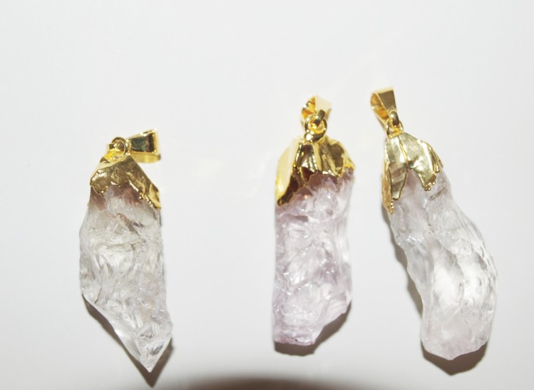Stones from Uruguay - Rought Crystal Pendants with Gold Plated