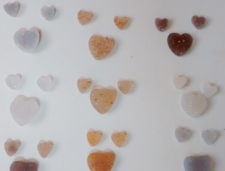 Stones from Uruguay - DRUZY HEART SETS