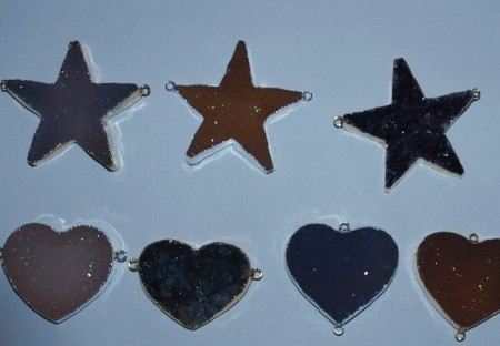 Stones from Uruguay - Connectores of Druzy Star and Druzy Heart with Silver Plating(40mm)