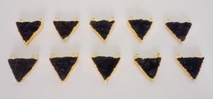 Stones from Uruguay - Natural Black Druzy Triangle Connector,Gold Electroplated, 20mm size