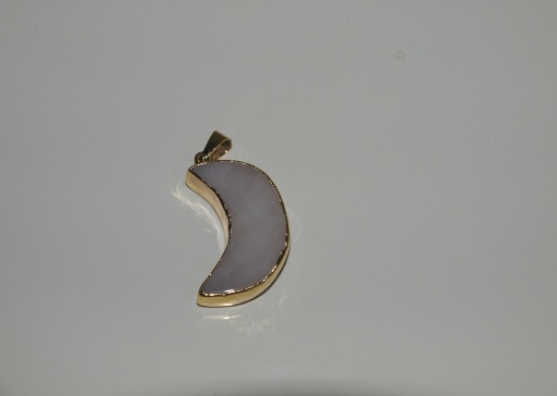 Stones from Uruguay - White Dolomite Half Moon Pendant, Gold Electroplated