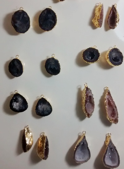 Stones from Uruguay - Agate Geode Druzy Pairs, Gold Electroplated