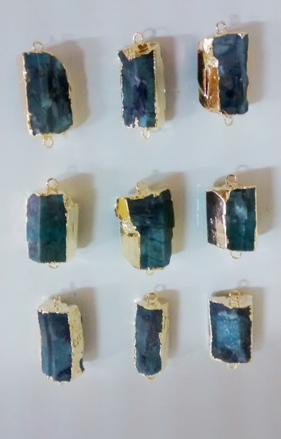 Stones from Uruguay - Raw Emerald Connector, Gold Electroplated, Size 21-35mm