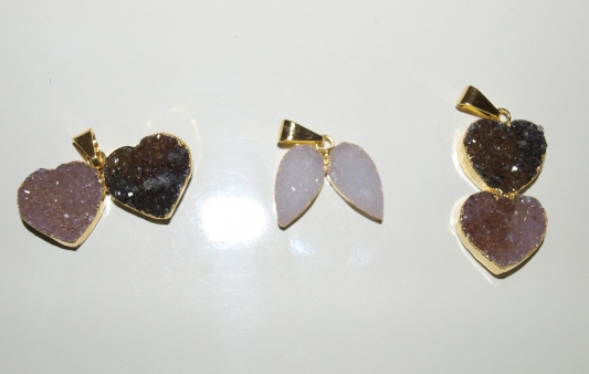 Stones from Uruguay - Double Druzy Teardrop and Double Heart Pendant with 24k Gold Electroplated Edge