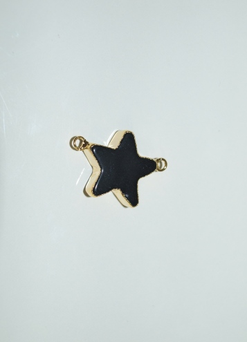 Stones from Uruguay - Polished Black Obsidian Star Connectors,Gold Eletroplated