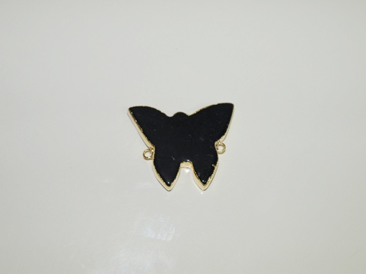 Stones from Uruguay - Polished Black Obsidian Butterfly I Connectors, Gold Electroplated