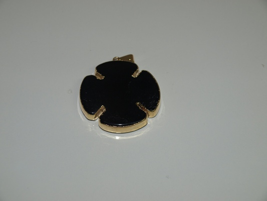 Stones from Uruguay - Polished Black Obsidian Clover Pendant, Gold Electroplated