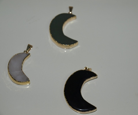Stones from Uruguay - Polished Black Obsidian Half Moon Pendant, Gold electroplated
