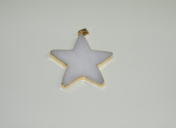 Stones from Uruguay - Polished White Dolomite Star Pendant, Gold electroplated