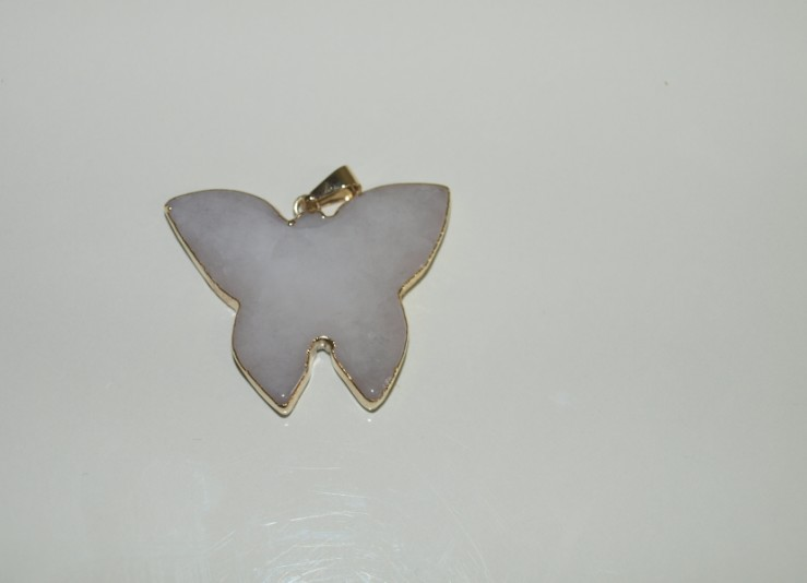 Stones from Uruguay - Polished White Dolomite Butterfly I Pendant, Gold Plated