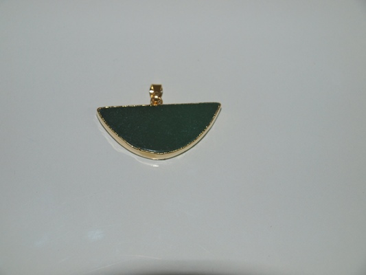 Stones from Uruguay - Polished Green Quartz Smile Pendant, Gold Plated