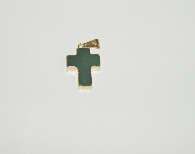 Stones from Uruguay - Polished Green Quartz Crucifix Pendant, Gold Plated