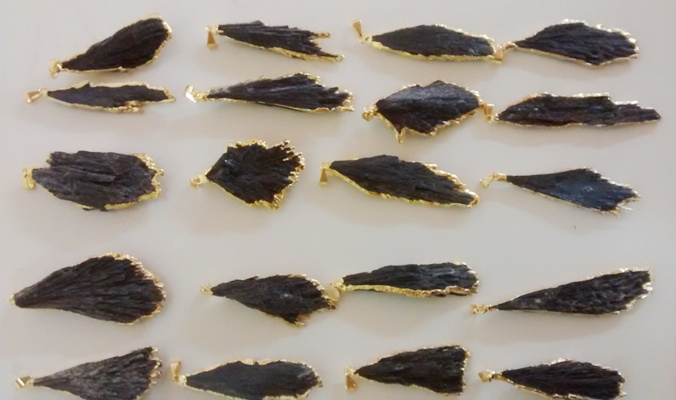 Stones from Uruguay - Black Kyanite Pendants, Gold Electroplated, Quality A