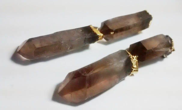 Stones from Uruguay - Natural Quartz Smoky Crystal Point Pendant, Gold Plated