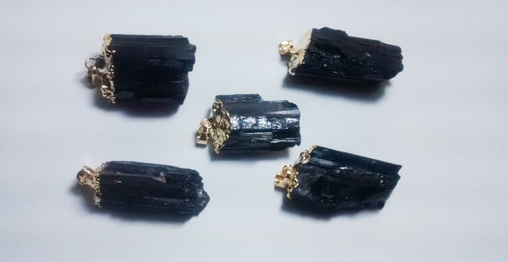 Stones from Uruguay - Rough Black Tourmaline Pendant, Gold Electroplated, 21-35mm,Quality B