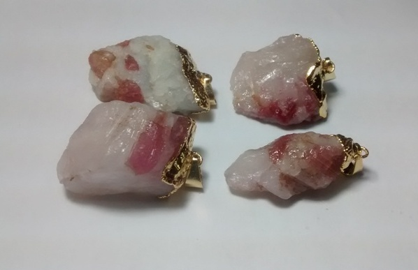 Stones from Uruguay - Raw Pink Tourmaline Crystal Pendant on Quartz Crystal Matrix, Gold Electroplated