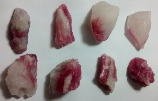Stones from Uruguay - Pink Tourmaline on Quartz Matrix Being Selected to Turn Pendants
