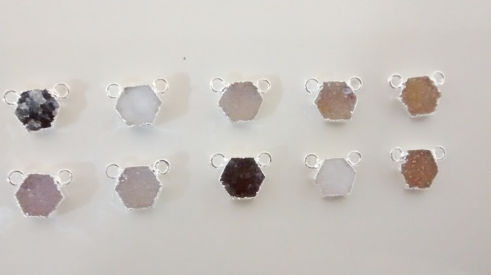 Stones from Uruguay - Druzy Hexagon Connectors,Gold Electroplated, Size 10mm