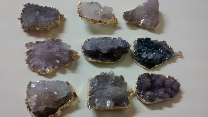 Stones from Uruguay - Amethyst Calcite Flower Pendants, Gold Electroplated, Size 31-60mm