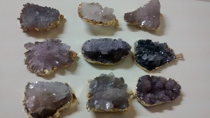 Stones from Uruguay - Amethyst Calcite Flower Pendant, Gold Electroplated, Size 31-60mm