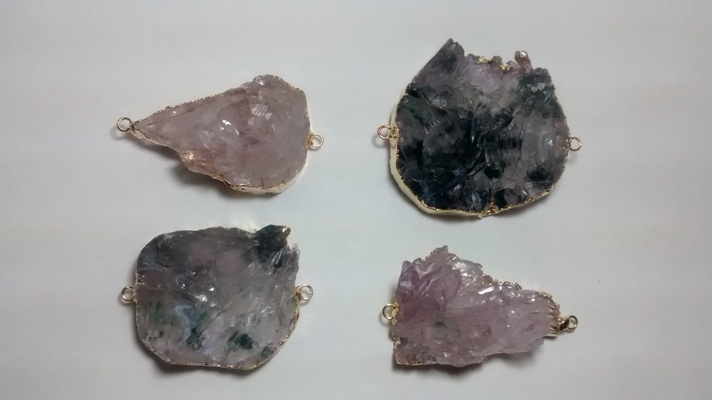 Stones from Uruguay - Amethyst Calcite Flower Connector, Gold Electroplated, Size 31-60mm