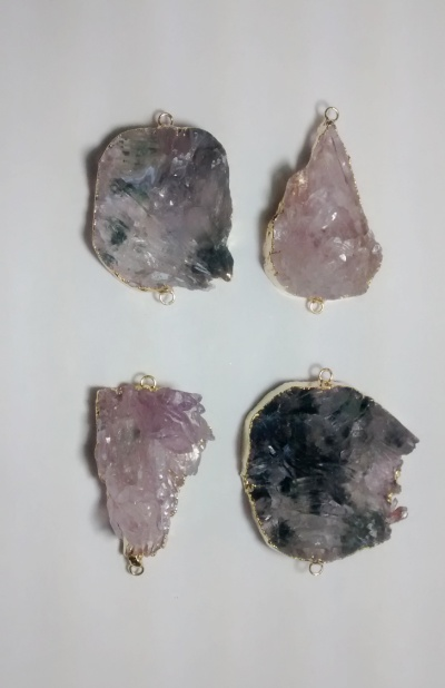 Stones from Uruguay - Amethyst Flower Connector, Gold Plated , Size 31-60mm