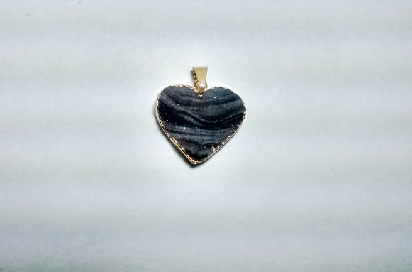 Stones from Uruguay - Chalcedony Druzy Heart Pendant, Gold Plated(20mm)