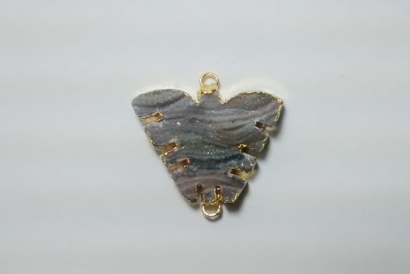 Stones from Uruguay - Chalcedony Druzy Butterfly II Connector, Gold Plated (30mm)