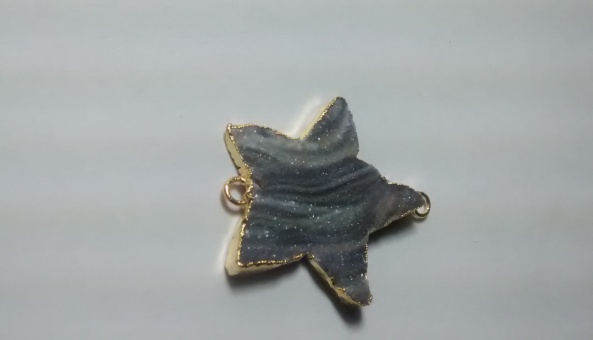 Stones from Uruguay - Chalcedony Druzy Star Connector, Gold Plated, Size 20mm