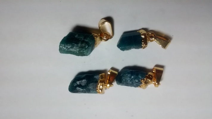 Stones from Uruguay - Blue Apatite Pendant, Gold Electroplated,Size 10-20mm