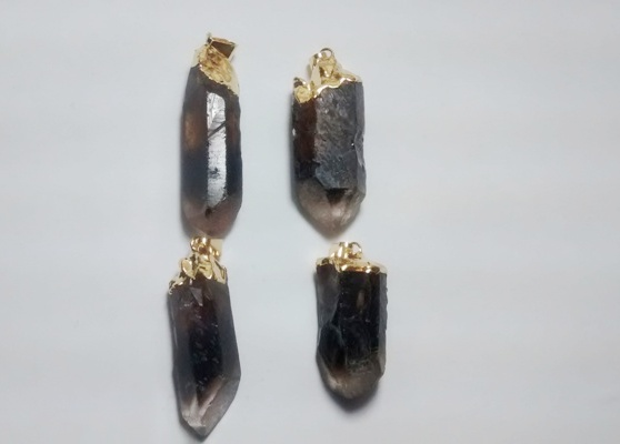 Stones from Uruguay - Bicolor Smoky Quartz Point Pendants, Gold Plated