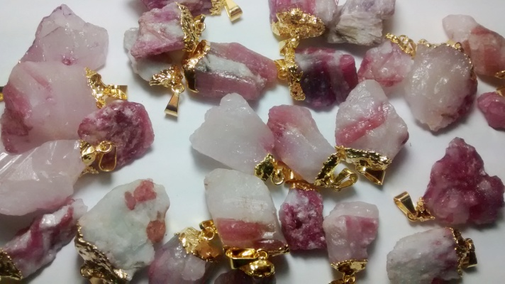 Stones from Uruguay - Gold Plated Pink Tourmaline Pendants on Matrix,Size 21-35mm