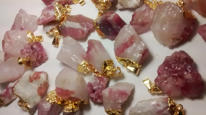 Stones from Uruguay - Gold Electroplated Pink Tourmaline Pendants on Matrix, Size 21-35mm
