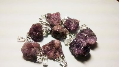 Stones from Uruguay - Lepidolite Pendants,Silver Plated