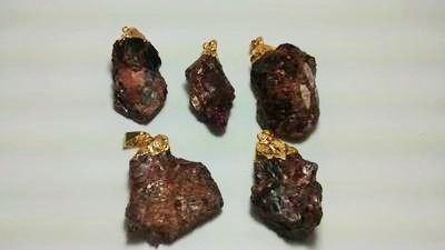 Stones from Uruguay - Rough Garnet Pendants, Gold Plated