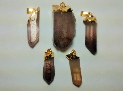 Stones from Uruguay - Quartz Point Pendants with Lepidocrocite Inclusion, Gold Plated