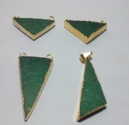 Stones from Uruguay - Rough Green Aventurine Isosceles Triangles Connectors, Gold Plated
