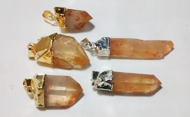 Stones from Uruguay - Yellow Quartz Crystal Point Pendants with Plated