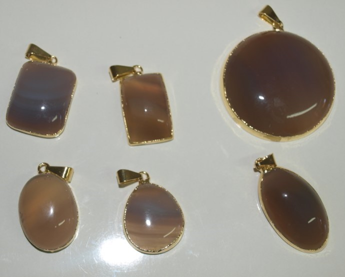 Stones from Uruguay - Natural Grey Agate Cabochon Pendants, Gold Plated