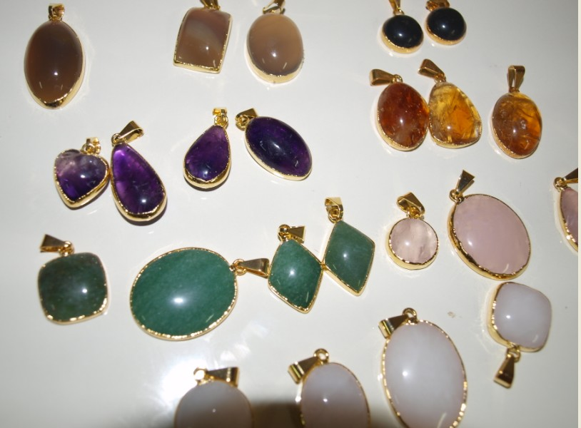 Stones from Uruguay - Plated Cabochon Pendants
