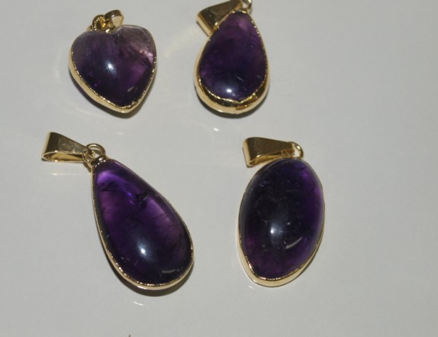 Stones from Uruguay - Amethyst Cabochon Pendants, Gold Plated