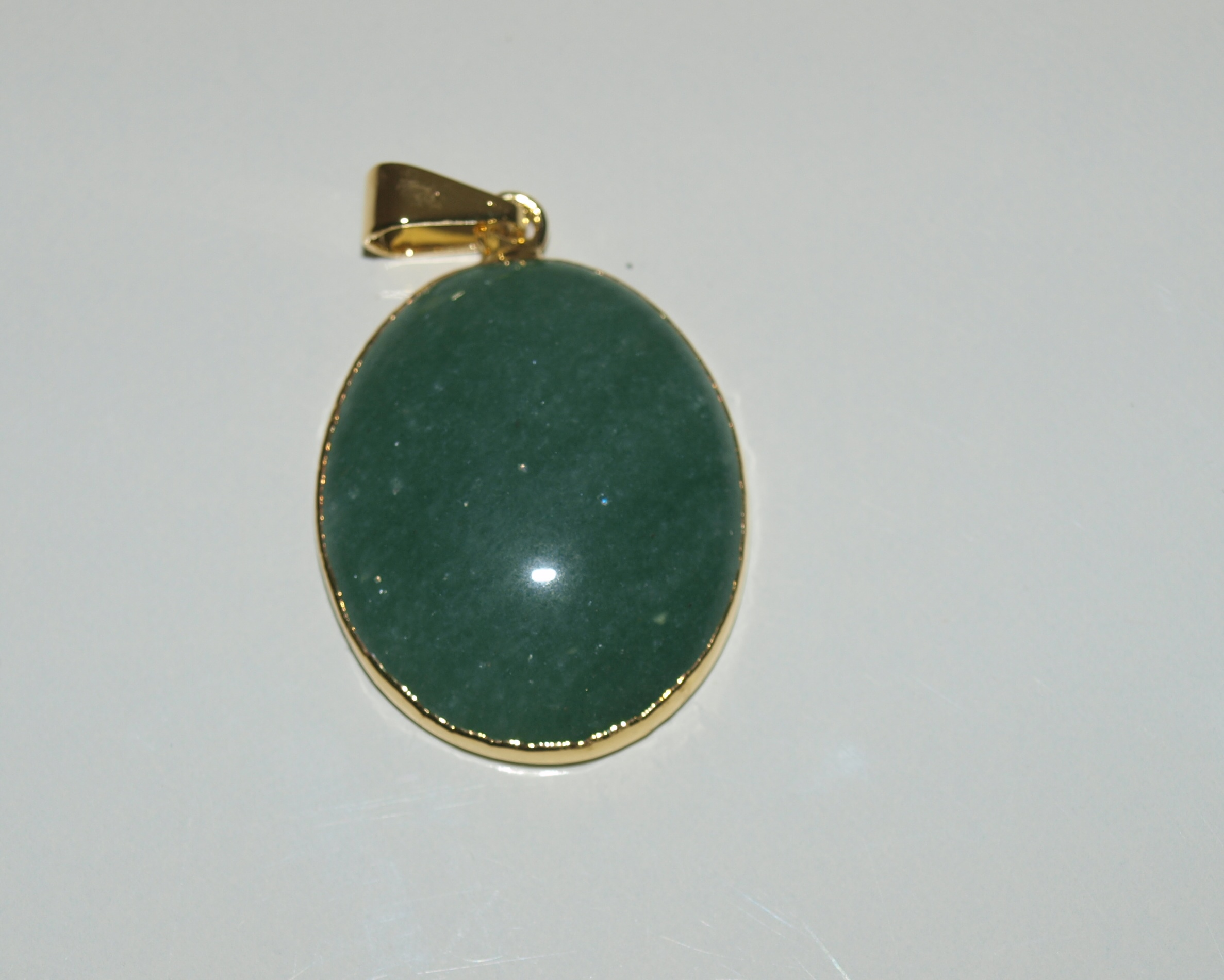 Stones from Uruguay - Green aventurine Oval Cabochon Pendant, 30x20mm, Gold Plated