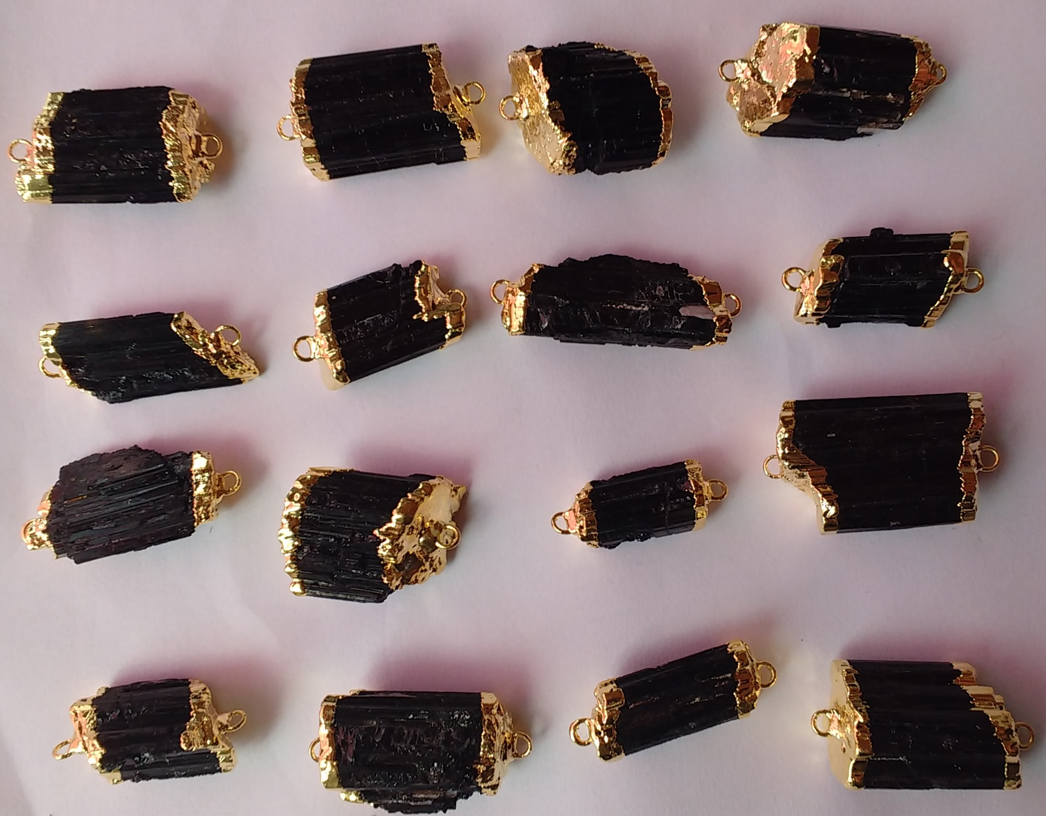 Stones from Uruguay - Black Tourmaline Connector, 21-35mm, Gold Plated