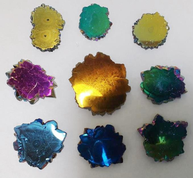 Stones from Uruguay - Titanium Flame Aura Amethyst Stalactite Slices, 26-50mm, Quality A, Mixed Colors
