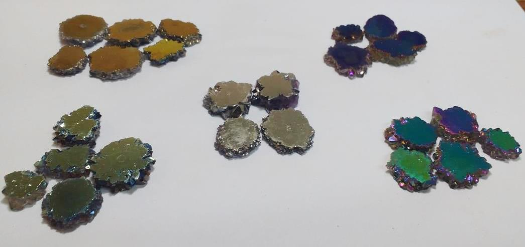 Stones from Uruguay - Titanium Aura Amethyst Stalactite Slices, Mixed Colors, 10-25mm
