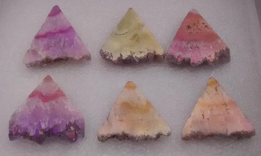 Stones from Uruguay - Light Angel Aura Triangle Slices to Encourage Flashes of Intuition and Insight