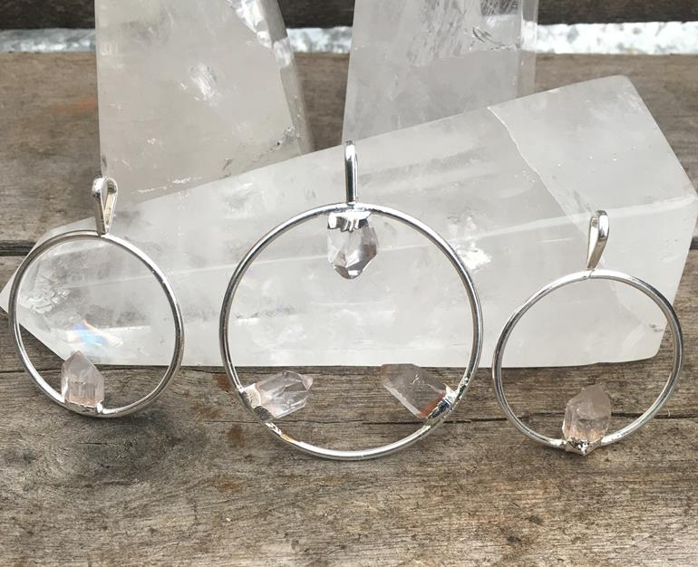 Stones from Uruguay - Clear Quartz Crystal Point Hoop Pendant